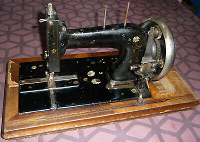 Rare antique Guhl & Harbeck hand crank sewing machine Mother of pearl (Gritzner)