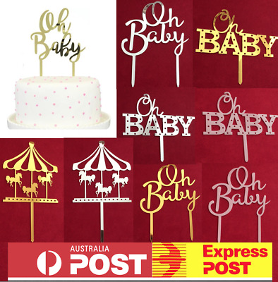 OH BABY ACRYLIC Cake Topper Baby Shower Mirror Gold Silver Rose Gold