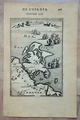 Germany Rugen Island 1683 Alain Manesson Mallet Antique Map 17Th Century