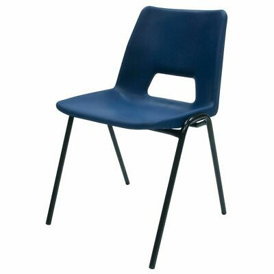 Stacking Canteen/Classroom Style Chair Metal Frame Poly Back Blue colour 410mm