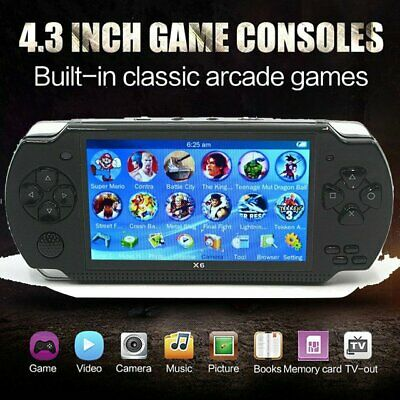 """X6 8G 64 Bit 4.3"""" PSP Portable Handheld Game Console Player Games mp4 +Cam"""