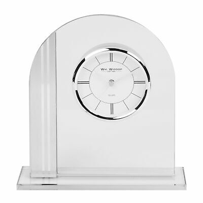 Contemporary Arched Glass Mantel Clock Silver Bezel Floating Face 20cm
