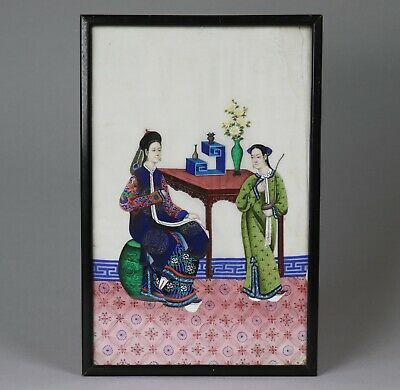 Antique 19th Century Chinese Framed Painting on Rice Paper