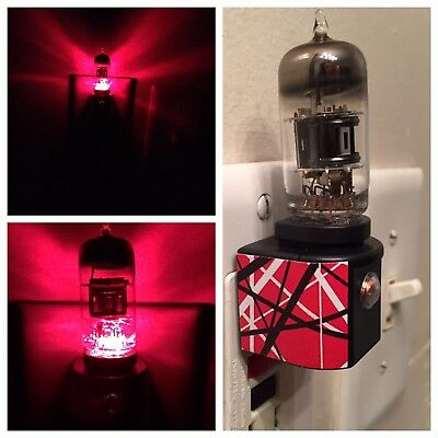 12AX7 Vacuum Tube Red/Blk LED Night Light made with EVH Van Halen 5150 Decal