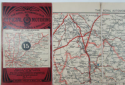 1910 Philips Royal Automobile Club Motoring Map England & Wales 15 Chelmsford