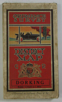 1929 Vintage OS Ordnance Survey Prov One-Inch Tourist Map Dorking & Leith Hill