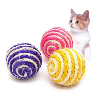 Katze Pet Sisal Rope Woven Ball Teaser Play Chewing Rattle Scratch Catch Toys