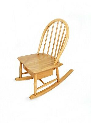 Vintage Retro Ercol Childs Rocking Chair-With Storage Drawer. Fully restored.