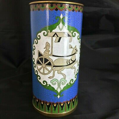 A Chinese Cloisonne Brush Pot Unusual Design And Colourway