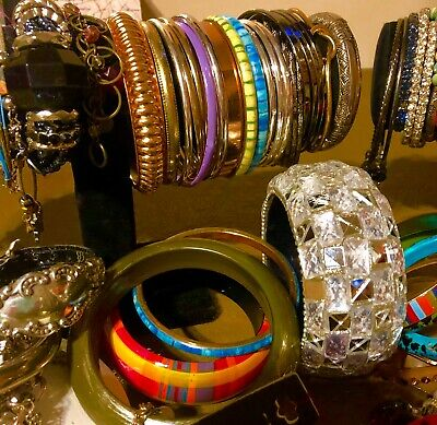 Huge 90+Vintage To Now Assorted Bracelet Lot Wearable Charms,Bangles, Clamps +