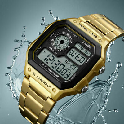 SKMEI Luxury Men's Stainless Steel Watch Digital Square Timer Dress Dual Time
