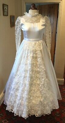 Girl's Vintage 1980'S Victorian Style Ivory 'Satin' & Lace  Bridesmaid Dress