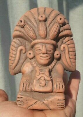 MEXICAN PRE COLUMBIAN STYLE MAYA / AZTEC CORN GOD DEITY CLAY FIGURE Mexico