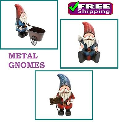 Garden Gnomes Hand Crafted METAL Garden Ornament FREE DELIVERY D12