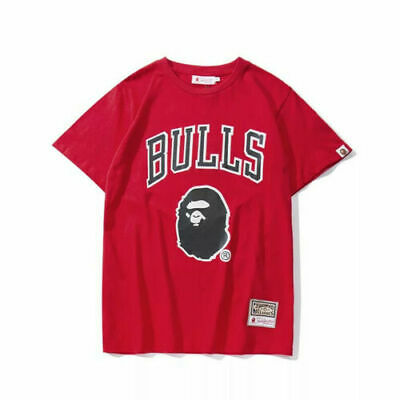 NEW Bape X Bulls Summer T-Shirt Men's Casual Round Neck Tops