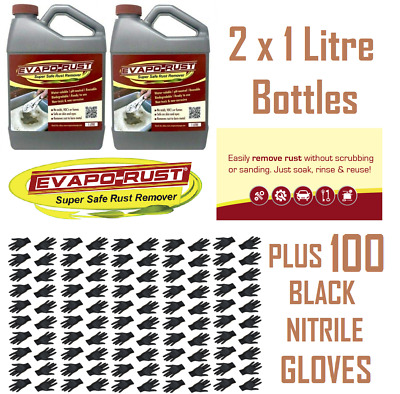 2 x Evapo-Rust - 1L Rust Remover Water Soluble Liquid Water Soluble & 100 Gloves