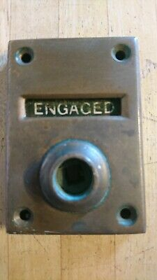 Antique Vintage Brass Bathroom Toilet Door LOCK - Vacant / Engaged - Original