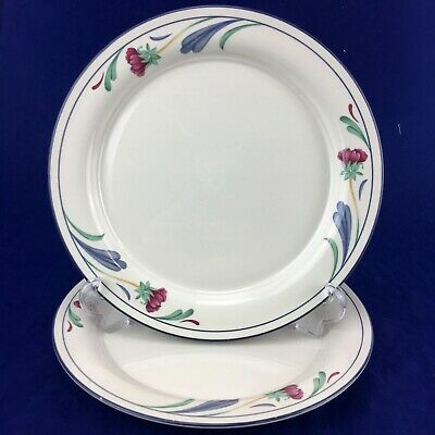 2 LENOX Chinastone POPPIES ON BLUE Red Floral Blue Green Dinner Plates  Set Of 2