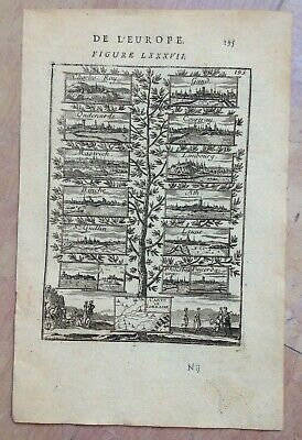 Belgium Germany France Views Of Cities 1683 A. Manesson Mallet Antique Plate