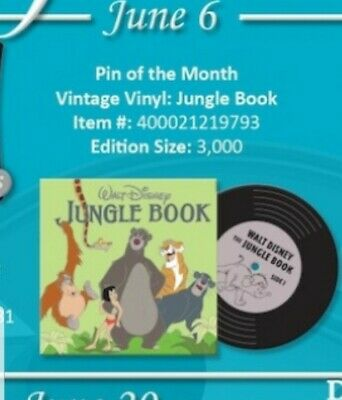Disney Parks Pin Of The Month Vintage Vinyl jungle book pin LE 3000 Pre Sale 6/6
