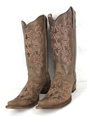 4abcb8e3354 CORRAL CIRCLE G Womens Western Cowboy Boots Stitch Leather Cross ...