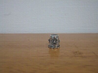 Vintage 925 Sterling Silver Thimble With Raised Rose Decoration