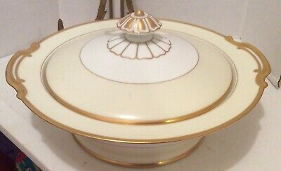 Noritake China Rengold Handpainted Vegetable Serving Bowl With Lid Gold Trim