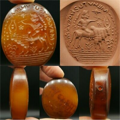 Lovely Agate intaglio Old Stone Seal Bead With King & inscription    # 23