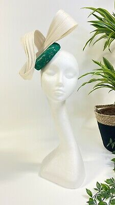 REDUCED Bespoke Lux Green Lace & Ivory Jinsin fascinator/hatinator Wedding/Races