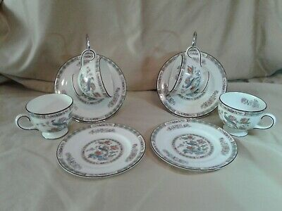 4 WEDGWOOD Bone China Porcelain KUTANI CRANE birds floral cups and bread plates