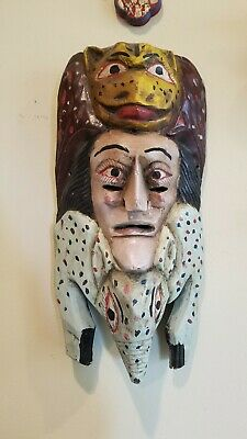 BIG Vintage Mexican Folk Art Hand Carved Painted Wood Mask Ant Eater Man Leopard