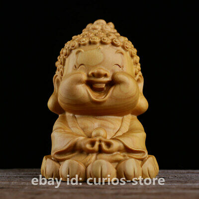 Chinese Box-wood HandCarved Buddhism Shakyamuni Amitabha Buddha Statue Q Version