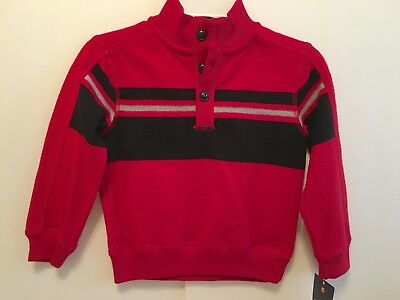 CHAPS Classic Pullover Long Sleeve Red Black Fleece Knit Sweater Top Boys 4 NEW