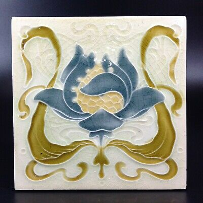 Antique Art Nouveau Tile Flower