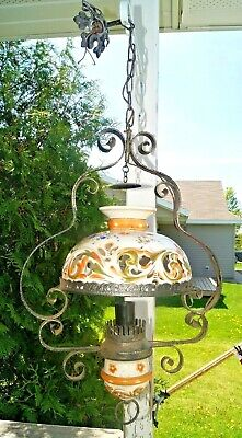 Antique 1910s Ornate Metal Electric Hanging Lamp W/ Hand Painted Ceramic Shade