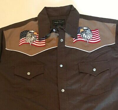 NOS Vintage 90s Embroidered American Flag Eagle High Noon Western Shirt  L