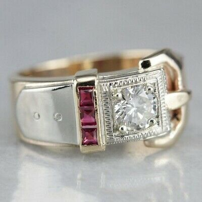 Women 925 Silver 18k Gold Plated Ruby White Topaz Belt Buckle Ring Wedding Gift