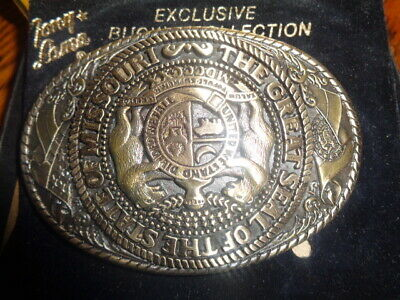 1970's Tony Lama 1st Edition State Seal Brass Belt Buckle Missouri