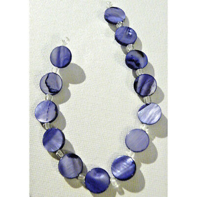 Antique Vintage Art Deco Shell Carved Blue Beads Necklace Gift Jewelry Supplies