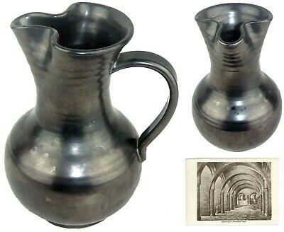 Vintage Prinknash Abbey Pottery Large Jug Pinched Spout Pewter Luster Hand Made
