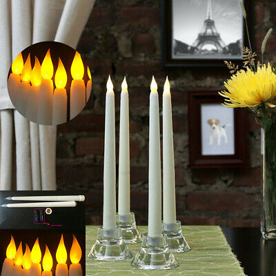 4PCS battery remote control operated flameless led taper candle lamp candlestick