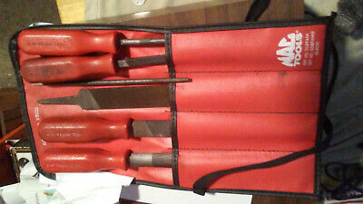 Mac Tools - SCBF4AK - 4 File Set - Used - Red Hard Handles USA with pouch