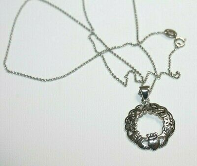 463eeea07 Celtic Knot Claddagh Irish Round Circle Pendant Sterling Silver Necklace 18