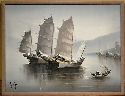 Original Oil Painting On Board Ship Seascape Asian Artist Signed Vintage