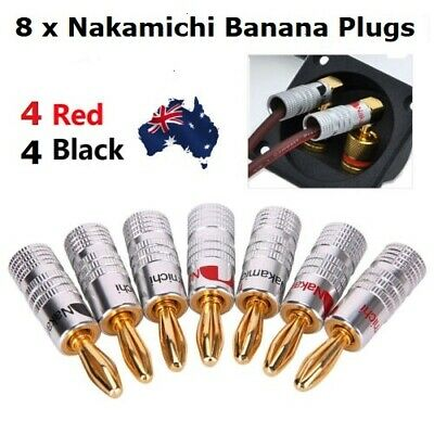 8 X Nakamichi Speaker banana plugs 24K Gold connector AUSTRALIAN STOCK