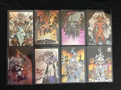 LADY DEATH MEGA JUMBO CHROMIUM CARDS PREVIEW 7 CARD SET KROME PRODUCTIONS NEW