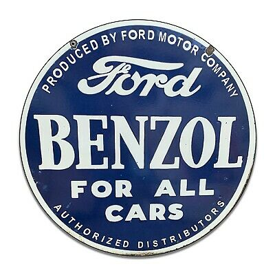 Ford Benzol For Cars Authorized Distributors Reproduction Circle Aluminum Sign