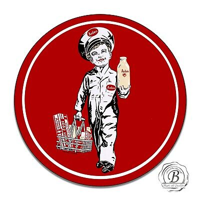 Arden Dairy Butter Milk Eggs Delivery Boy Reproduction Circle Aluminum Sign