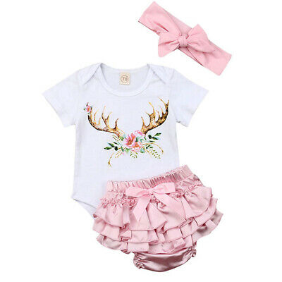 AU Newborn Infant Baby Girl Short Sleeve Romper Shorts Summer 3Pc Outfit Clothes