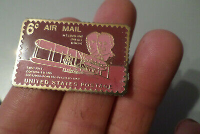 pin s timbre avion AIR MAIL USA United States Postage la poste BUR WRIGHT plane